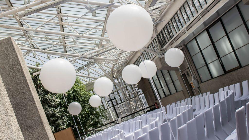 Giant white balloons