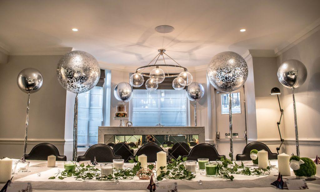 silver confetti balloons