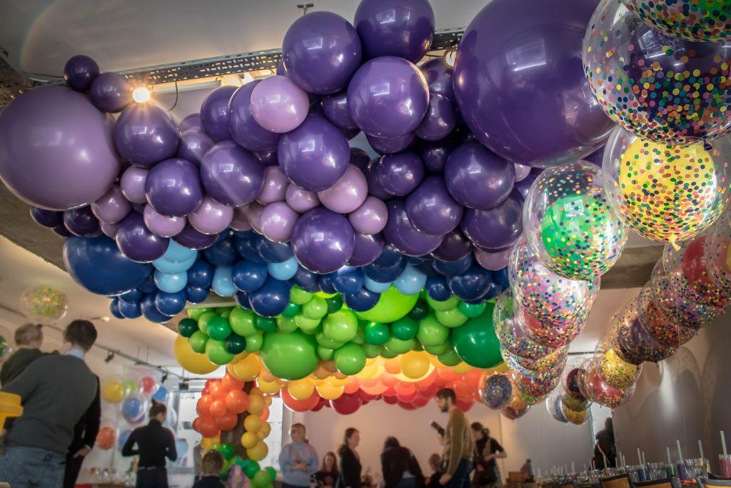 rainbow balloon ceiling
