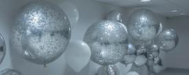 giant silver confetti balloons