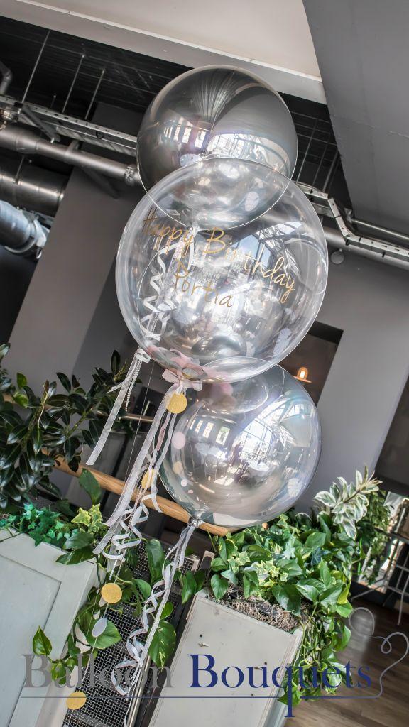 personlised bubble confetti balloon table centre pieces