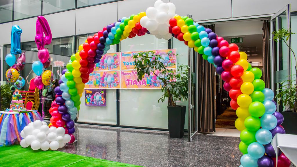 Trolls theme party balloons rainbow arch