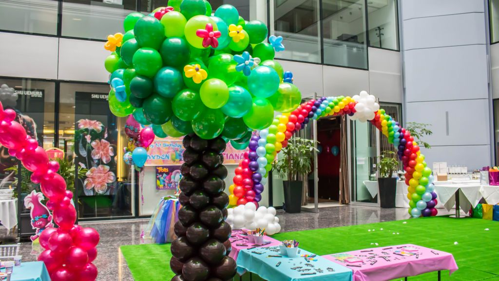 Trolls theme party balloons giant balloon tree